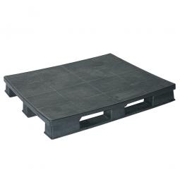 Kunststoffpalette im Euromaß mit 3 Kufen, LxBxH 1200 x 1000 x 150 mm, geschlossene Deckfläche, schwarz