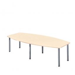 Konferenztisch mit 6 Rundrohrfüßen, chrom, Platte Ahorn, BxTxH 2800x1300/780x740 mm