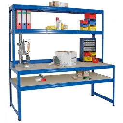 [B-Ware] - Arbeits- und Packtisch 1800x1800x600 mm, Aufbau HxBxT 900x1800x300 mm mit 2 Spanplattenböden