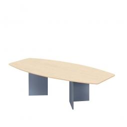 Konferenztisch mit Holzfußgestell, silber, Platte Ahorn, BxTxH 2800x1300/780x740 mm