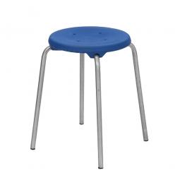Edelstahl-Stapelhocker, Sitzhöhe 580 mm, Sitz- u. Rückenlehne aus Polyurethanschaum, blau