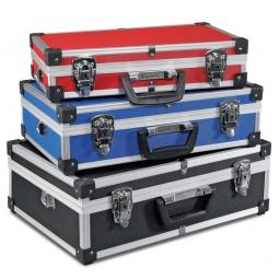 Alu-Rahmenkoffer-Set, 3 verschiedene Größen, je 1x Farbe schwarz, blau, rot