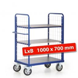 Etagenwagen mit 2 Gitterwänden/3 Ladeflächen, LxBxH 1190x700x1500 mm, Tragkraft 1200 kg