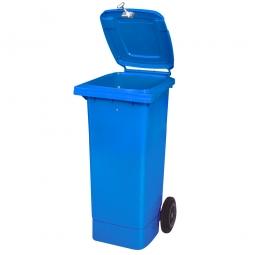 Müllbehälter mit Dreikantschlüssel verschließbar, BxTxH 445 x 525 x 930 mm, 80 Liter, blau