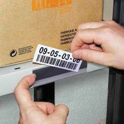 Etikettenhalter, VE = 50 Stück, magnetisch, BxH 100x27 mm, mit 3 Bogen weißen Etiketten zum Selbstbedrucken