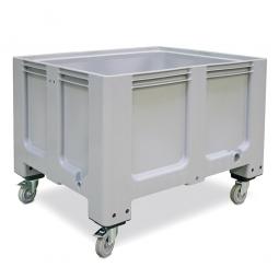 Großbox / Großbehälter mit 4 Lenkrollen und 2 Feststellbremsen, 610 Liter, LxBxH 1200x1000x915 mm, Boden/Wände geschlossen, grau