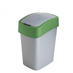 Abfallbehälter mit Schwing- oder Klappdeckel, PP, BxTxH 260x340x470 mm, Inhalt 25 Liter, silber/grün