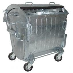 Müllbehälter, 1100 Liter verzinkt, Lenksperre, HxBxT 1430 x 1360 x 1030 mm , seitliche Aufnahmezapfen, Wasserablauf