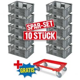 10x Euro-Stapelbehälter + 1 Transportroller GRATIS, Farbe grau, LxBxH 600 x 400 x 240 mm