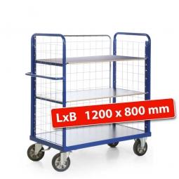 Etagenwagen mit 3 Gitterwänden/3 Ladeflächen, LxBxH 1390x800x1500 mm, Tragkraft 1200 kg