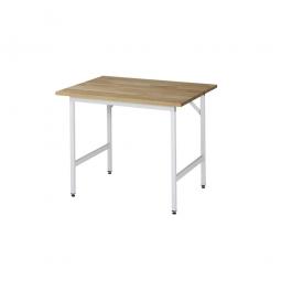 Arbeitstisch mit Massivbuche-Tischplatte, BxTxH 1000x800x800-850 mm, Gestell lichtgrau RAL 7035
