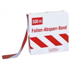 Absperrband im Abrollkarton, Länge 500 m, Breite 80 mm, rot/weiß