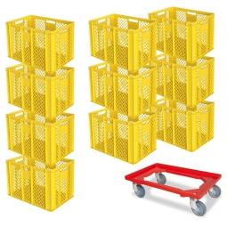 10x Euro-Stapelbehälter + 1 Transportroller GRATIS, Farbe gelb, LxBxH 600 x 400 x 410 mm