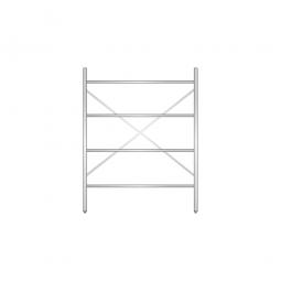 Aluminiumregal mit 4 geschlossenen Regalböden, Stecksystem, BxTxH 1400 x 400 x 1800 mm, Nutztiefe 340 mm