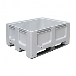 Großbox / Großbehälter mit 3 Kufen, 400 Liter, LxBxH 1200 x 1000 x 580 mm, Boden/Wände geschlossen, grau