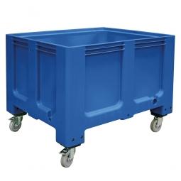 Großbox / Großbehälter mit 4 Lenkrollen und 2 Feststellbremsen, 610 Liter, LxBxH 1200x1000x915 mm, Boden/Wände geschlossen, blau