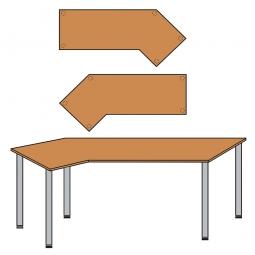 EDV-Tisch mit Quadratrohr-Füßen, Farbe silber, Buche, BxTxH 2100x800/1300x680-760 mm