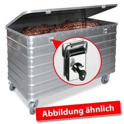 Transportwagen aus Leichtmetall, mit Deckel und Schlössern, LxBxH 1030x670x835 mm, 415 Liter, Tragkraft 250 kg