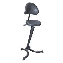 Stehhilfe, Gestell aus Stahlrohr, schwarz, Sitz aus strapazierfähigem PU-Schaum, mit Rückenlehne