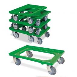 7er-Set Transportroller 600 x 400 mm, offenes Deck, 4 Lenkrollen, graue Gummiräder, grün