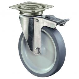 Apparate-Lenkrolle mit Feststellbremse, Rad-ØxB 100x28 mm,Tragkraft 60 kg, Gummi