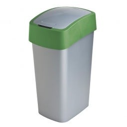 Abfallbehälter mit Schwing- oder Klappdeckel, PP, BxTxH 376 x 294 x 653 mm, Inhalt 50 Liter, silber/grün