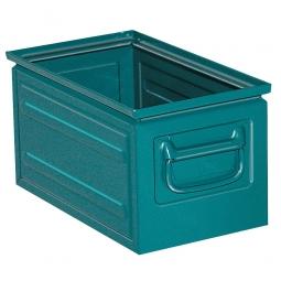 Stapelkasten ST5 aus Stahlblech, 13 Liter, LxBxH 350 x 200 x 200 mm, blaugrün