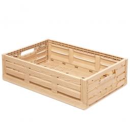 Klappbox im Holzdekor, geschlitzt, PP, LxBxH 600 x 400 x 165 mm, 33 Liter, beige