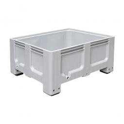 Großbox / Großbehälter mit 4 Füßen, 400 Liter,  LxBxH 1200 x 1000 x 580 mm, Boden/Wände geschlossen, grau