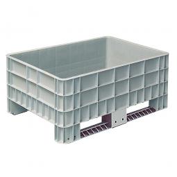 Palettenbox mit Außenrippen und 2 Kufen, Außenmaße LxBxH 1200x800x520 mm, grau