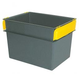 Konische Mehrzweckbehälter, 2 gelbe Stapelklappen, LxBxH 790 x 600 x 550 mm, 200 Liter, schwarz