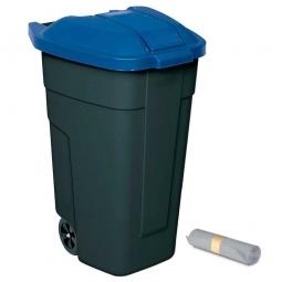 Rolleimer 100 Liter + GRATIS 50 Müllsäcke, BxTxH 510 x 550 x 850 mm, Korpus anthrazit, Deckel blau