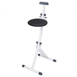 Stehhilfe, klappbar, Stahlrohr-Gestell weiß, Stoffbezug grau, Sitzhöhe verstellbar in 13 Stufe von 450-850 mm