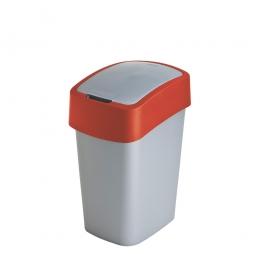 Abfallbehälter mit Schwing- oder Klappdeckel, PP, BxTxH 189x235x350 mm, Inhalt 10 Liter, silber/rot