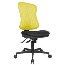 """Drehstuhl """"Head Point SY"""" mit Netzrücken gelb, Sitz HxBxT 390-510x500x460 mm, Rückenlehnenhöhe 590 mm"""