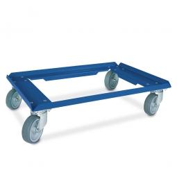 Alu-Transportroller für Eurobehälter 600 x 400 mm, graue Gummiräder, Deck offen, Tragkraft 250 kg, kunststoffbeschichtet, blau