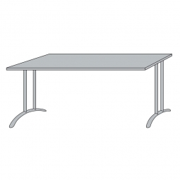 Schreibtisch mit Bogenformgestell, weißaluminium, Platte lichtgrau, BxTxH 1600x800x720 mm