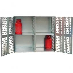 Gasflaschen-Schrank, Ausführung mit Belüftung, LxBxH 1680x690x1475 mm, für 20 Gasflaschen á 11 kg