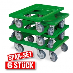 6x Transportroller im Spar-Set, Farbe grün, für Kästen, Körbe, Kartons 600 x 400 mm