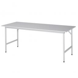Arbeitstisch mit Melaminharz-Tischplatte, BxTxH 2000x800x800-850 mm, Gestell lichtgrau RAL 7035