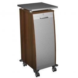 Bürocaddy mit Stahlschubladen, Nussbaum, BxTxH 515x600x1155 mm