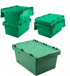 5x Universal Klappdeckelboxen, verplompbar, LxBxH 600 x 400 x 200 mm, 29 Liter, grün