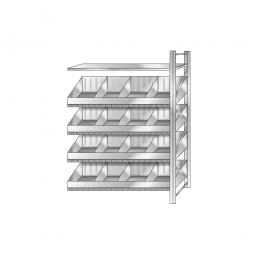 Schüttgut-Anbauregal, BxTxH 1210 x 525 x 2000 mm, 4 Ebenen, 16 Schüttfächer, 1 Fachboden, glanzverzinkt
