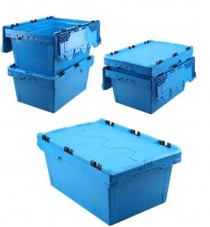 5x Universal Klappdeckelboxen, verplompbar, LxBxH 600 x 400 x 200 mm, 29 Liter, blau