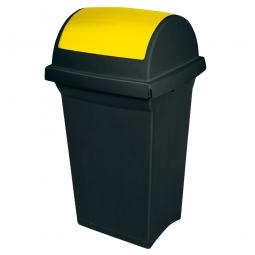 Schwingdeckel-Abfallbehälter gelb/anthrazit, LxBxH 430 x 390 x 760 mm, 50 Liter, Polypropylen-Kunststoff