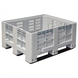 Großbox / Großbehälter mit 3 Kufen, 400 Liter, LxBxH 1200 x 1000 x 580 mm, Boden/Wände durchbrochen, grau