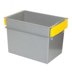 Konische Mehrzweckbehälter, 2 gelbe Stapelklappen, LxBxH 590 x 400 x 410 mm, 70 Liter, grau