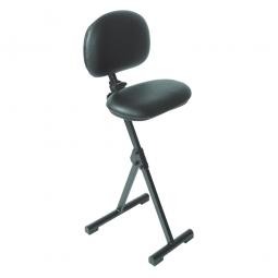 Stehhilfe, klappbar, Stahlrohr-Gestell schwarz, Sitz aus pflegeleichtem, strapazierfähigem Sitzbezug im Lederlook, schwarz