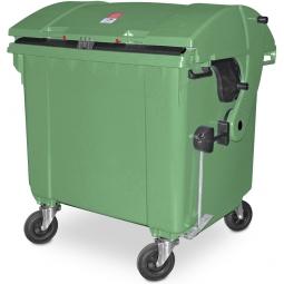 Müllbehälter, 1100 Liter, nach EN 840-6, grün, BxTxH 1365 x 1060 x1450 mm, Polyethylen (PE-HD)