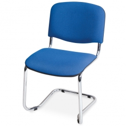 Schwingstuhl, Gestell hochglanzverchromt, Polster blau, stapelbar